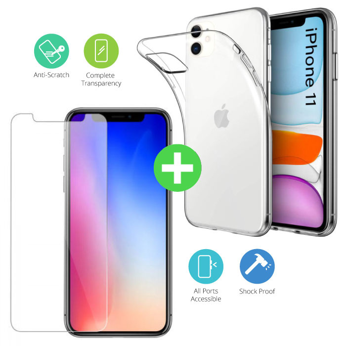 iPhone 11 Transparent TPU Case + Screen Protector Tempered Glass