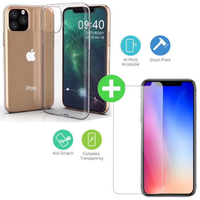iPhone 11 Pro Max Transparent TPU Case + Screen Protector Tempered Glass