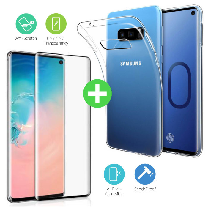 Samsung Galaxy S10e Transparant TPU Hoesje + Screen Protector Tempered Glass