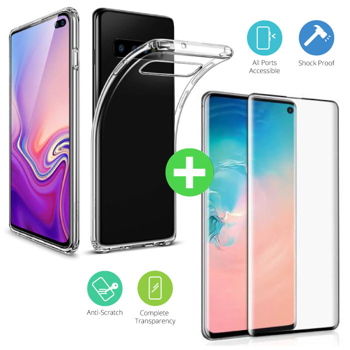 Samsung Galaxy S10 Plus Transparent TPU Case + Screen Protector Tempered Glass