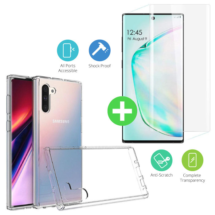 Samsung Galaxy Note 10 Transparant TPU Hoesje + Screen Protector Tempered Glass