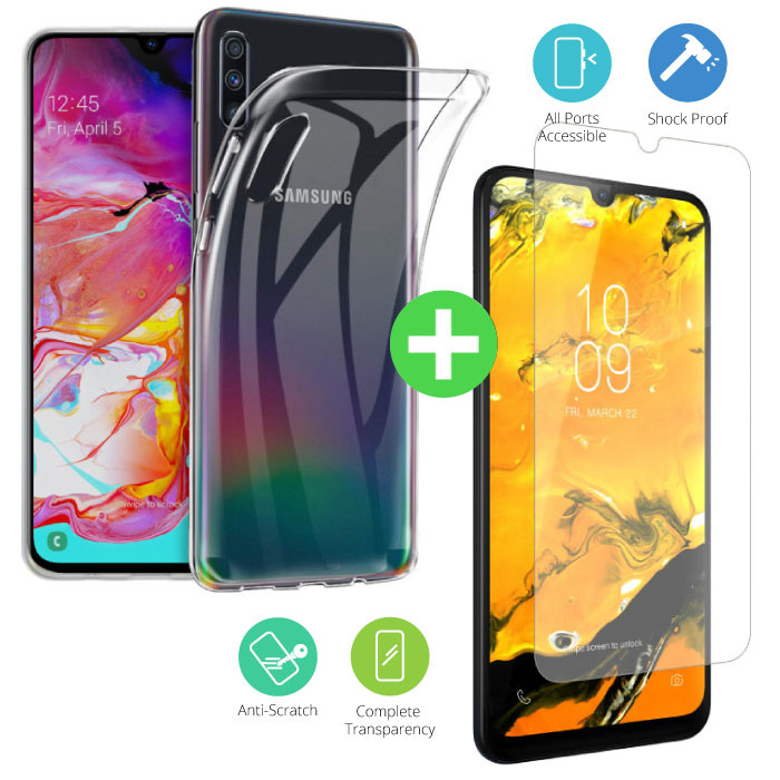 Samsung Galaxy A70 Transparant TPU Hoesje + Screen Protector Tempered Glass