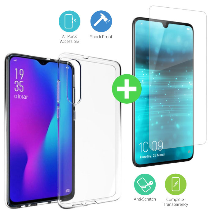 Huawei P30 Transparant TPU Hoesje + Screen Protector Tempered Glass