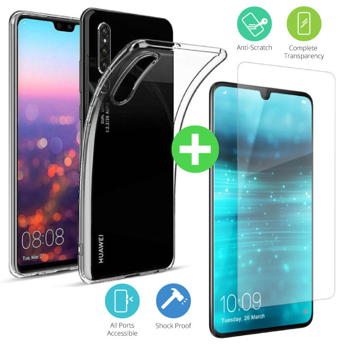 Huawei P30 Lite Transparent TPU Case + Screen Protector Tempered Glass