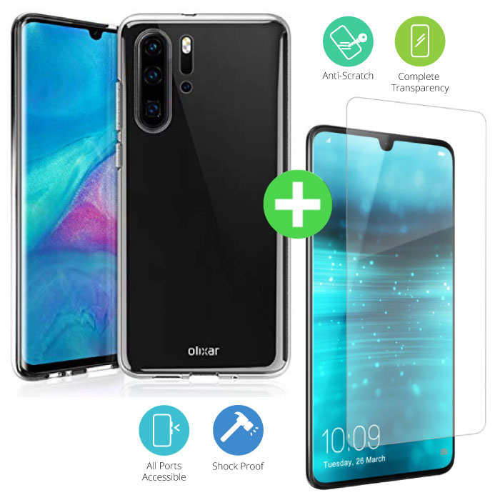 Huawei P30 Pro Transparant TPU Hoesje + Screen Protector Tempered Glass