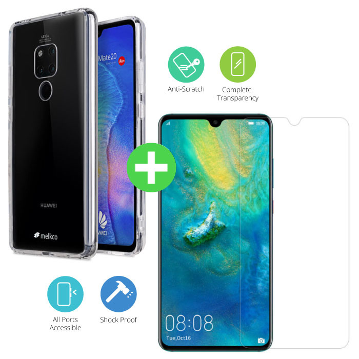 Huawei Mate 20 Transparant TPU Hoesje + Screen Protector Tempered Glass