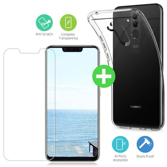 Huawei Mate 20 Lite Transparent TPU Case + Screen Protector Tempered Glass