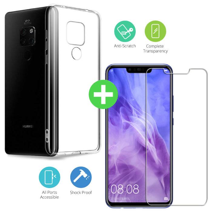 Coque Huawei Mate 20 X en TPU Transparent + Protection Ecran Verre Trempé