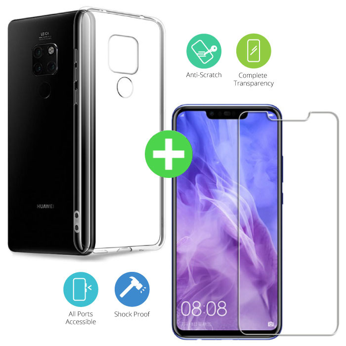 Huawei Mate 20 X Transparant TPU Hoesje + Screen Protector Tempered Glass