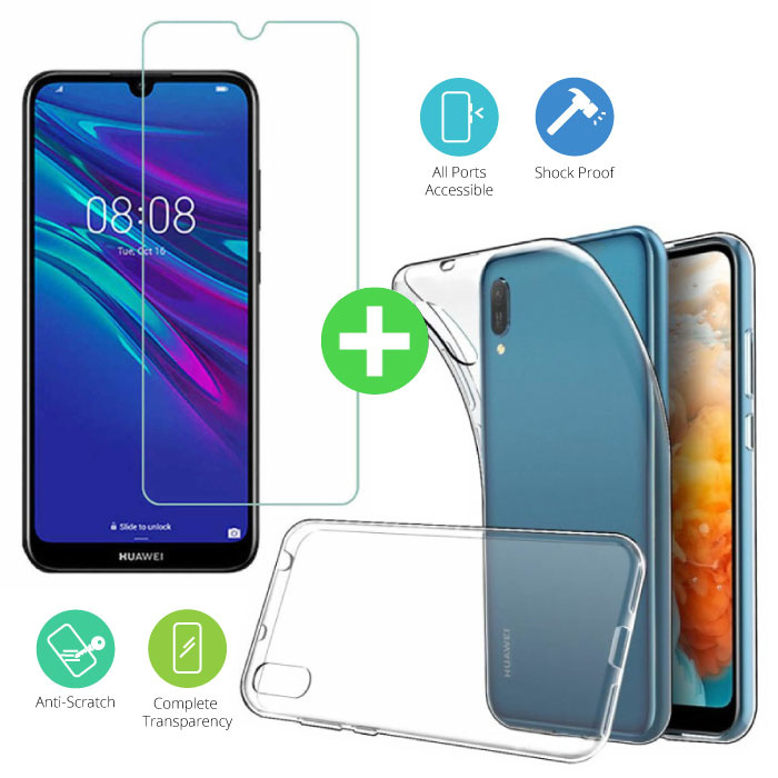 Huawei Y5 2019 Transparent TPU Case + Screen Protector Tempered Glass