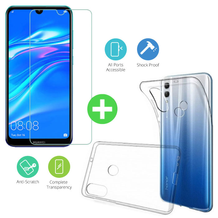 Huawei Y7 2019 Transparant TPU Hoesje + Screen Protector Tempered Glass
