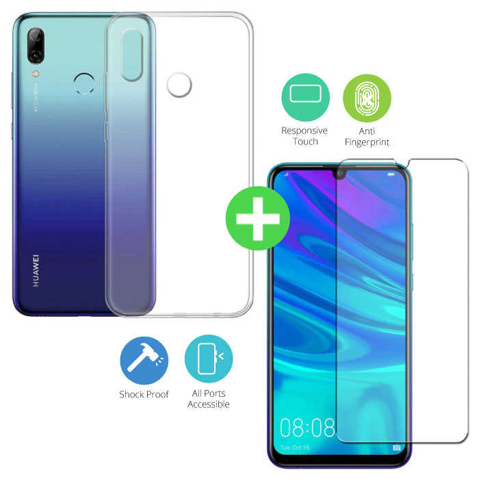Huawei P Smart 2019 Transparent TPU Case + Screen Protector Tempered Glass