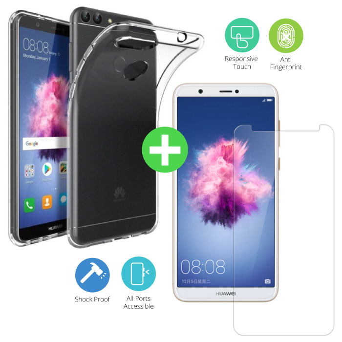 Huawei P Smart Transparant TPU Hoesje + Screen Protector Tempered Glass