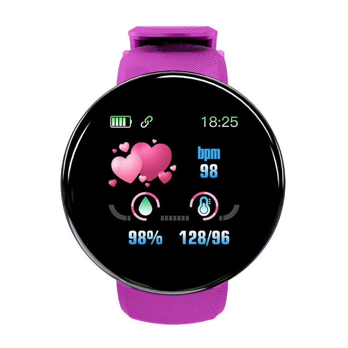 Original D18 SmartWatch Curved HD Smartphone Fitness Sports Activity Tracker Watch Pink iOS Android