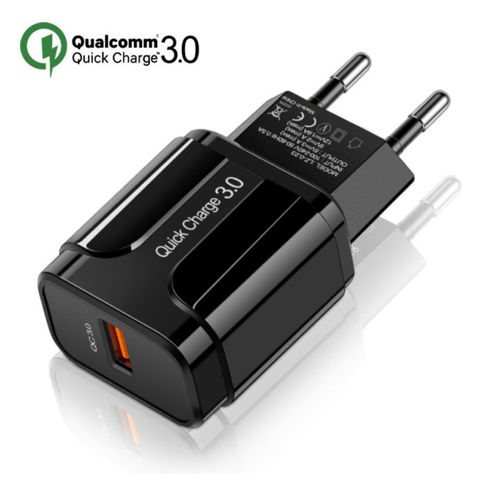 Qualcomm Quick Charge 3.0 USB Wall Charger Wallcharger AC Home Charger Plug Charger Adapter - Black