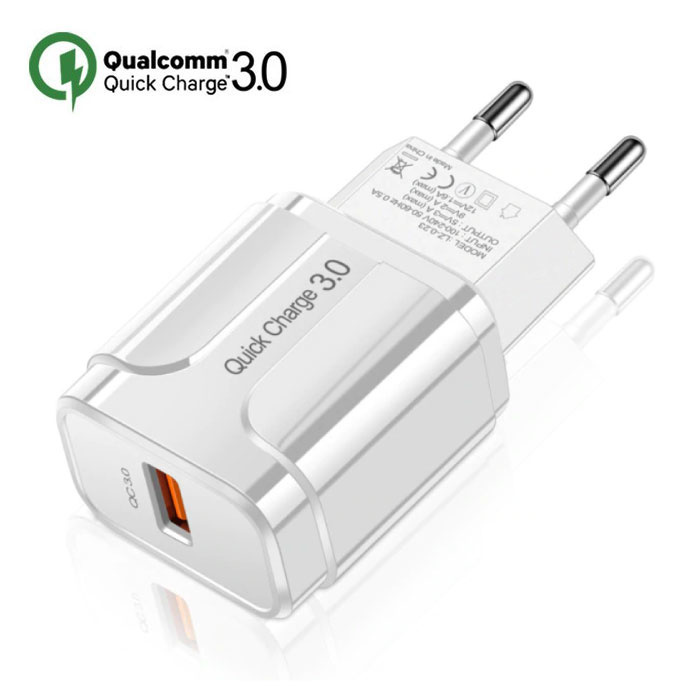 Qualcomm Quick Charge 3.0 USB Wall Charger Wallcharger AC Home Charger Plug Charger Adapter - White