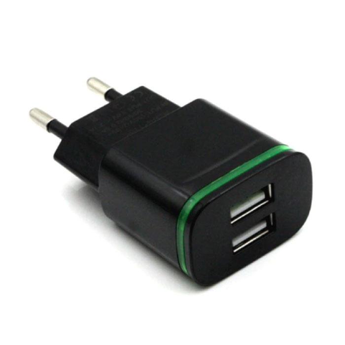 Mur double USB Chargeur Chargeur Accueil Chargeur AC Adaptateur prise 5V - 2A Noir