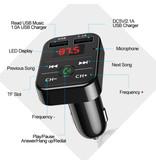 Stuff Certified® Dual USB Autolader Bluetooth Handsfree Oplader FM Radio Kit Goud