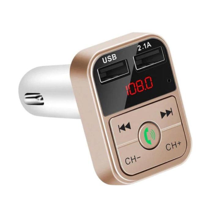 Chargeur de voiture double USB Chargeur mains libres Bluetooth Kit radio FM Or