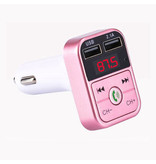 Stuff Certified® Dual USB Autolader Bluetooth Handsfree Oplader FM Radio Kit Roze
