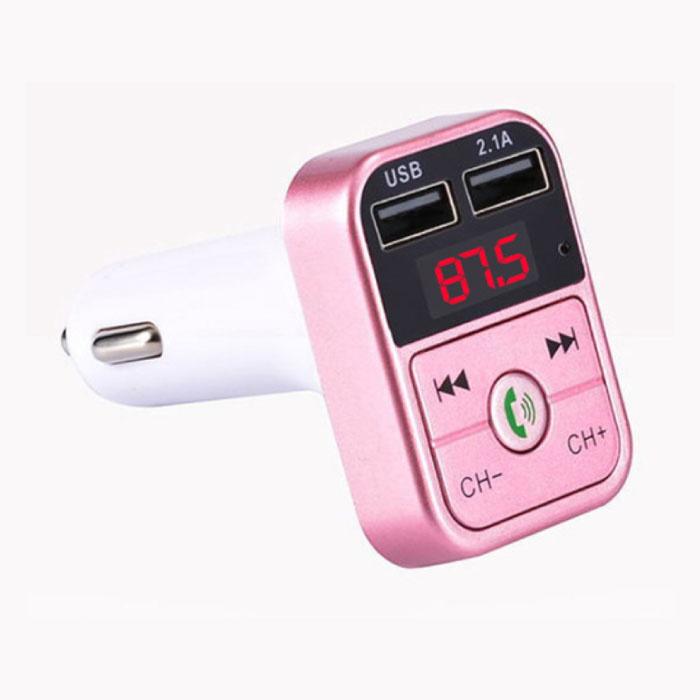 Chargeur de voiture double USB Chargeur mains libres Bluetooth Kit radio FM Rose