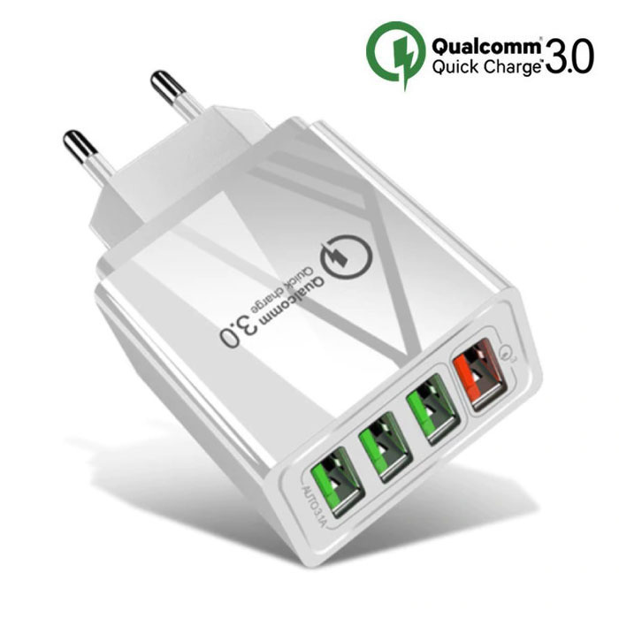 Qualcomm Quick Charge 3.0 Quad 4x Port USB Car Charger / Carcharger - White