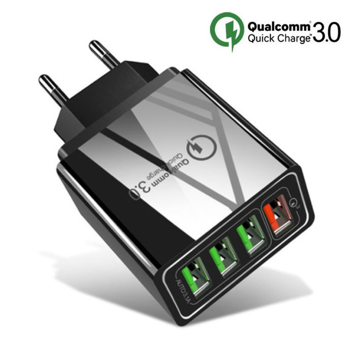 Qualcomm Quick Charge 3.0 Quad 4x Port USB Car Charger / Carcharger - Black