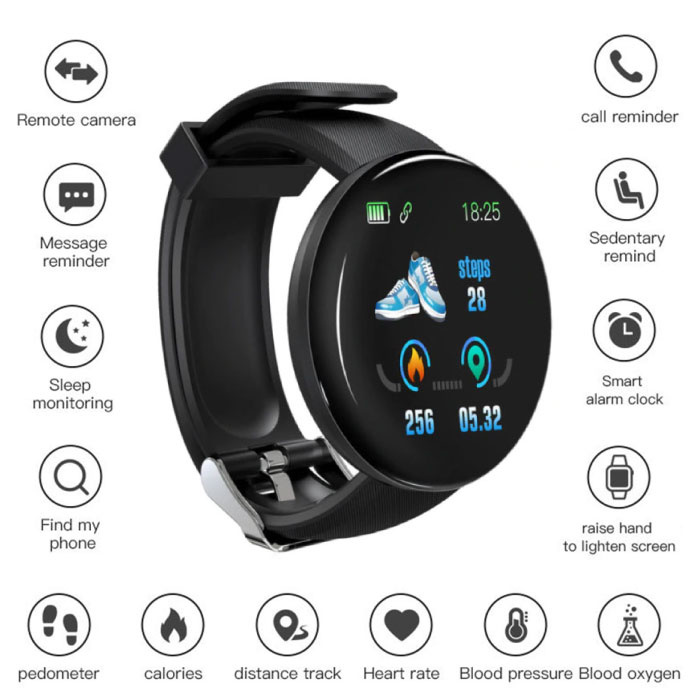 Original D18 Smartwatch Curved HD Smartphone Fitness Sport Activity Tracker Watch iOS Android Black