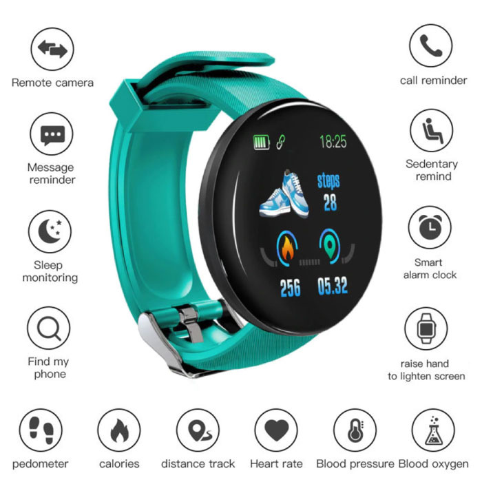 Original D18 Smartwatch Curved HD Smartphone Fitness Sport Activity Tracker Watch iOS Android Green