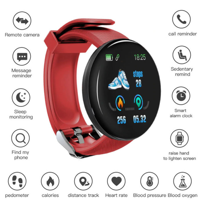 Originele D18 Smartwatch Curved HD Smartphone Sport Fitness Sport Activity Tracker Horloge iOS Android Rood