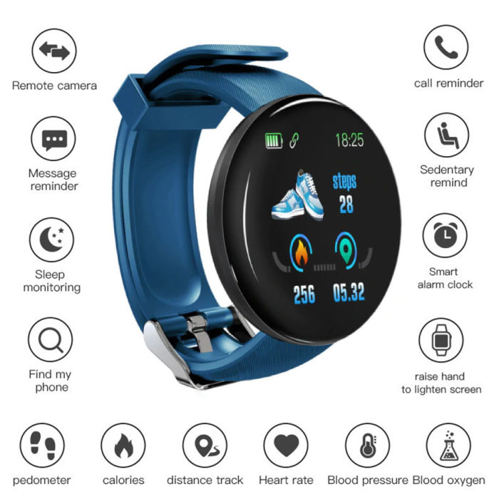 Originele D18 Smartwatch Curved HD Smartphone Sport Fitness Sport Activity Tracker Horloge iOS Android Blauw