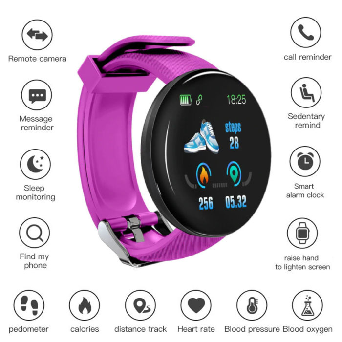 Originele D18 Smartwatch Curved HD Smartphone Fitness Sport Activity Tracker Horloge iOS Android Roze