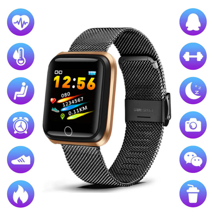 Fashion Sports Smartwatch Fitness Sport Activity Tracker Smartphone Watch iOS Android Black Metal