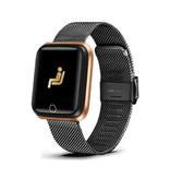 Lige Fashion Sports Smartwatch Fitness Sport Activity Tracker Smartphone Horloge iOS Android iPhone Samsung Huawei Zwart Metaal
