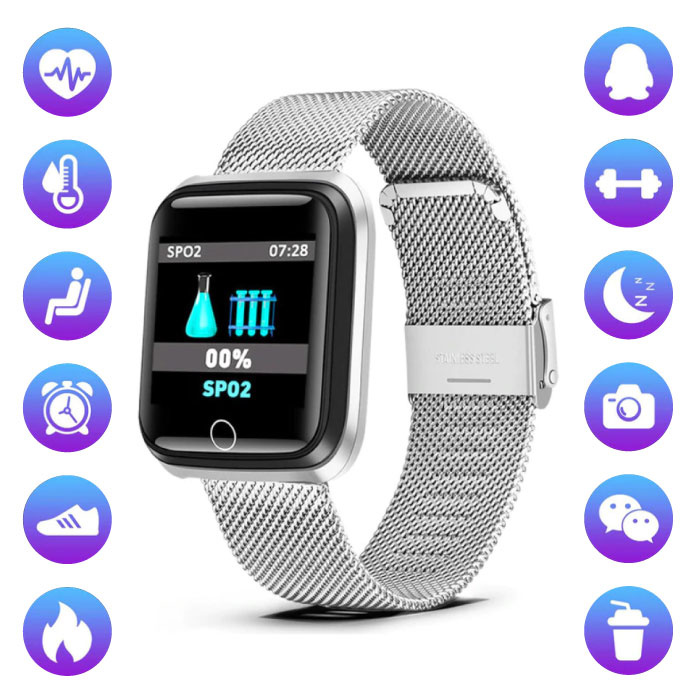 Lige Fashion Sports Smartwatch Fitness Sport Activity Tracker Smartphone Horloge iOS Android iPhone Samsung Huawei Zilver Metaal