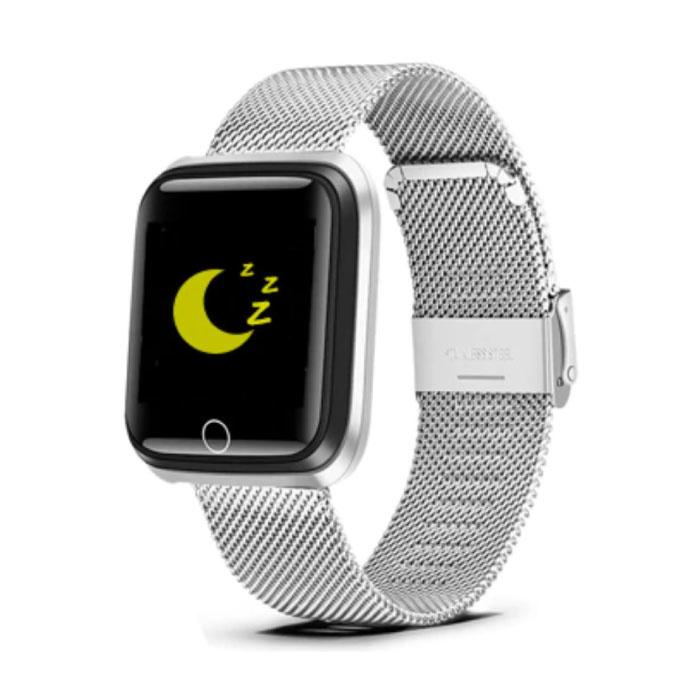 Mode Sport Smartwatch Fitness Sport Activité Tracker Montre Smartphone iOS Android iPhone Samsung Huawei Argent Métal