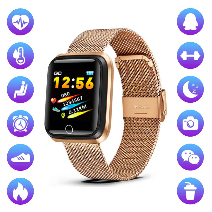 Fashion Sports Smartwatch Fitness Sport Activity Tracker Smartphone Watch iOS Android Gold Metal