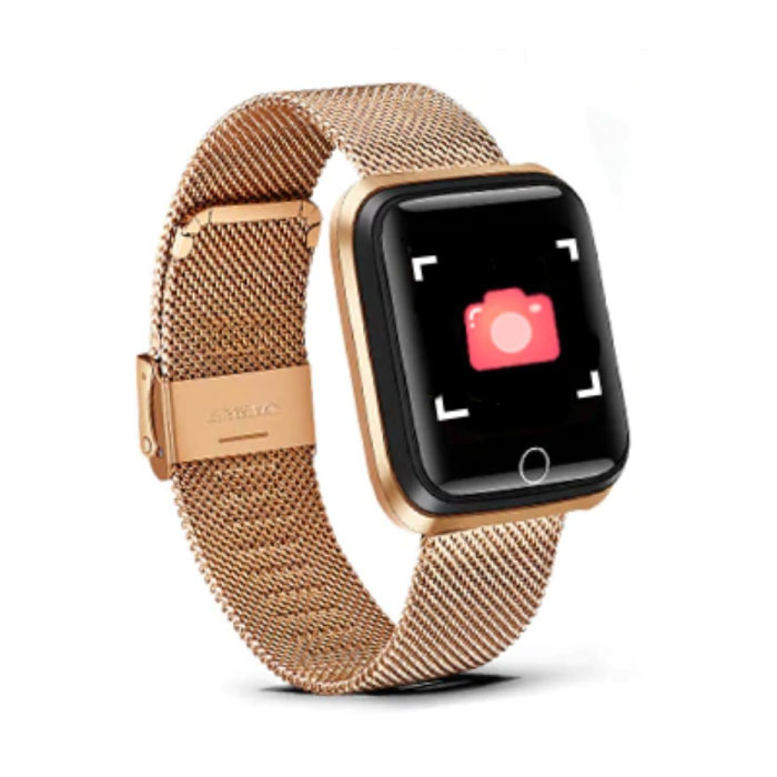 Mode Sport Smartwatch Fitness Sport Aktivität Tracker Smartphone Uhr iOS Android iPhone Samsung Huawei Gold Metal