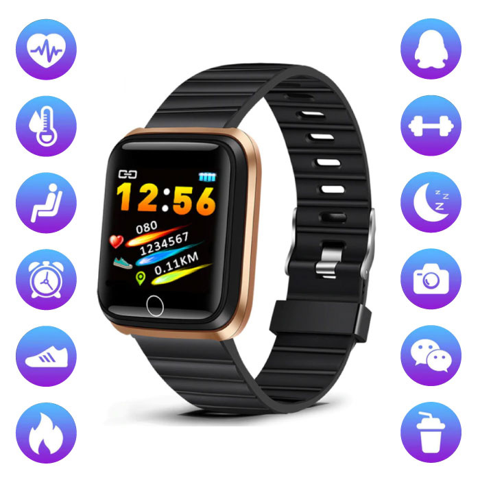 Fashion Sports Smartwatch Fitness Sport Activity Tracker Smartphone Watch iOS Android Gold Black TPU