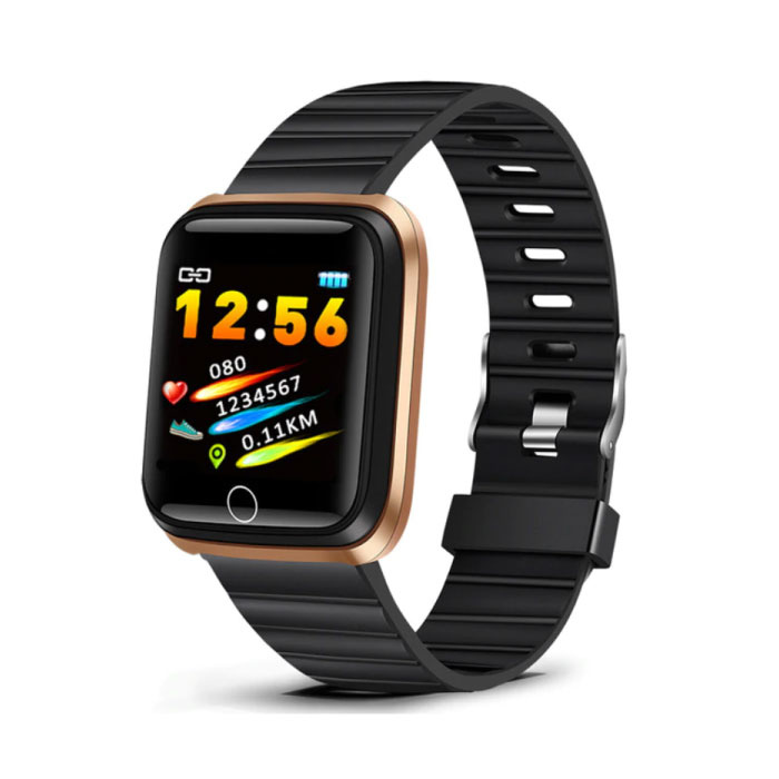 Fashion Sports Smartwatch Fitness Sport Activity Tracker Smartphone Horloge iOS Android iPhone Samsung Huawei Goud Zwart TPU
