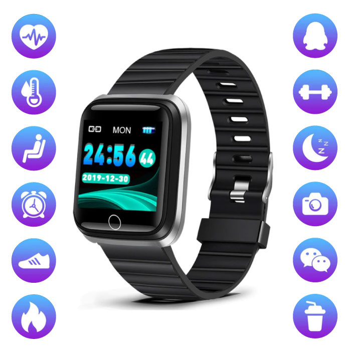 Fashion Sports Smartwatch Fitness Sport Activity Tracker Smartphone Watch iOS Android Silver Black TPU