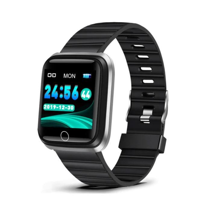 Mode Sport Smartwatch Fitness Sport Activité Tracker Montre Smartphone iOS Android iPhone Samsung Huawei Argent Noir TPU