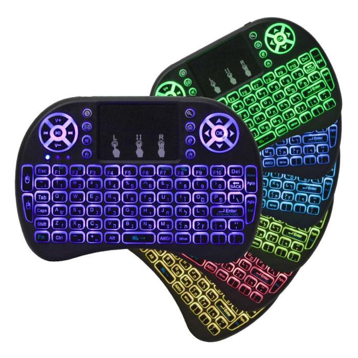 RGB rétro-éclairé i8 Mini sans fil QWERTY clavier 2,4 GHz pour Media Player Android TV Box Xbox Playstation