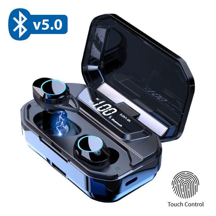 QCR G02 TWS Draadloze Smart Touch Control Oortjes Bluetooth 5.0 Ear Wireless Buds 3300mAh Powerbank Earphones Earbuds Zwart