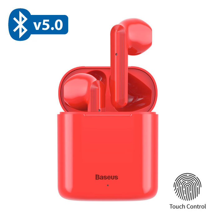 Baseus Encok W09 TWS Draadloze True Touch Control Oortjes Bluetooth 5.0 Air Wireless Pods Earphones Earbuds Rood