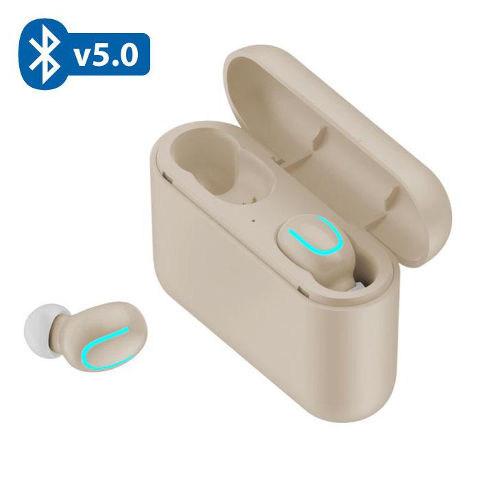 TWS AirPower Draadloze Bluetooth 5.0 Oortjes Air Wireless Pods Earphones Earbuds Beige - Helder Geluid