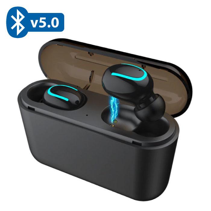 TWS AirPower Draadloze Bluetooth 5.0 Oortjes Air Wireless Pods Earphones Earbuds Zwart - Helder Geluid
