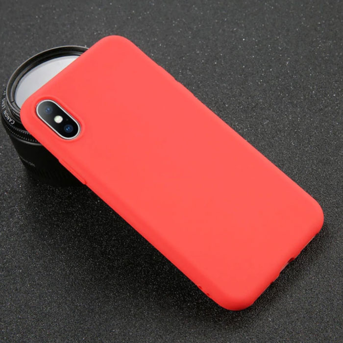 iPhone 8 Plus Ultra Slim Etui en silicone TPU couverture rouge