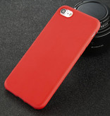 USLION iPhone 8 Plus Ultra Slim Etui en silicone TPU couverture rouge