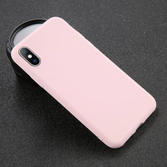 iPhone XS Ultra Slim Etui en silicone TPU rose couverture